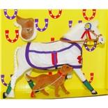 Pony World Travande Häst Vit med Hund