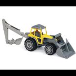 Plasto Traktor med Frontlastare & Grävare Gul