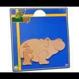 WoodiToys Träpussel 4 Bitar Flodhäst