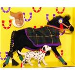 Pony World Travande Häst Svart med filt och Hund