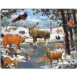 Larsen Pussel 54 Bitar Nordliga Djur i Vinterlandskap