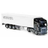 Emek Scania Topline Box Van Semitrailer Svart 1:25