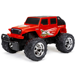 New Bright R/C Chargers Jeep Wrangler Röd Skala 1:18