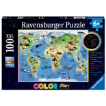 Ravensburger Pussel 100 XXL Bitar Colorful Animal World Map