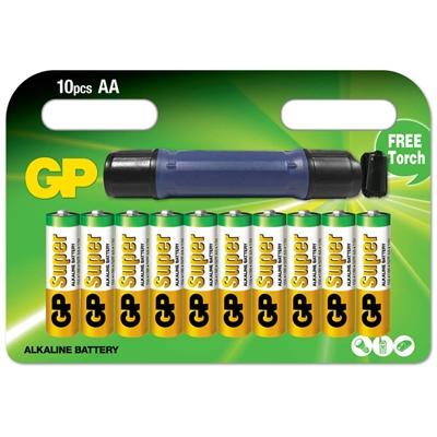 GP Super Alkaline AA Batterier 10-Pack + LED Ficklampa Mini