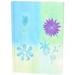 Blå Blommor Linjerad Skrivbok A5