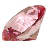 Diamant i Glas Rosa 8 cm