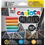Carioca Metallic Fine Tip Tuschpennor 8-Pack