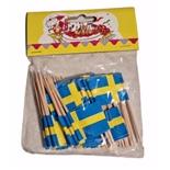 Cocktailflaggor Svenska Flaggan 50-Pack
