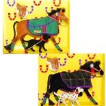 Pony World Travande Hästar med Hundar 2-Pack