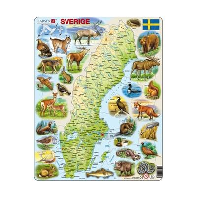 Larsen Pussel 71 Bitar Karta Sverige, K6