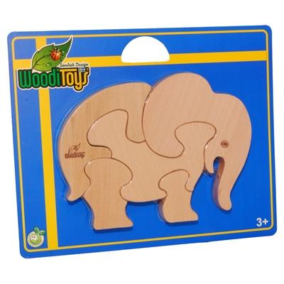 WoodiToys Träpussel 5 Bitar Elefant, WP-102
