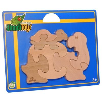 WoodiToys Träpussel 6 Bitar Sköldpadda med Baby, WP-105