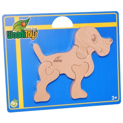WoodiToys Träpussel 4 Bitar Hund, WP-110