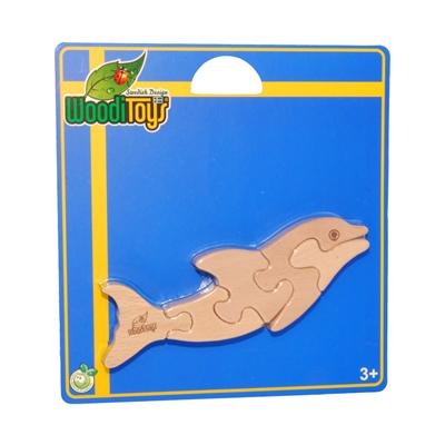WoodiToys Träpussel 5 Bitar Delfin, WP-112
