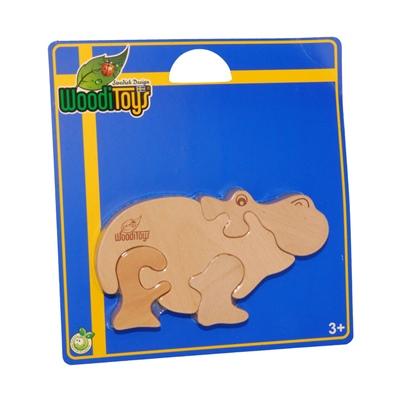 WoodiToys Träpussel 4 Bitar Flodhäst, WP-115
