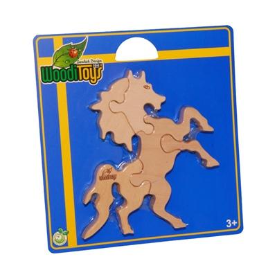 WoodiToys Träpussel 5 Bitar Häst, WP-120
