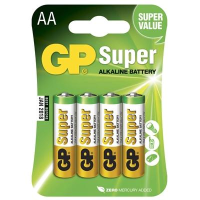 GP Super Alkaline AA Batterier 4-Pack, 15A-U4