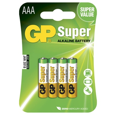 GP Super Alkaline AAA Batterier 4-Pack, 24A-U4