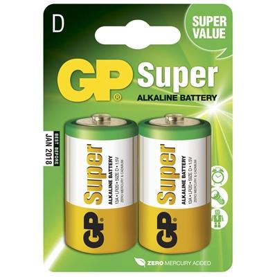 GP Super Alkaline D Batterier 2-Pack, 13A-U2