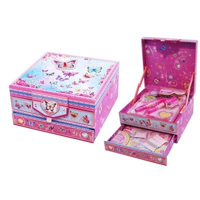 Rosa Skrivpysselsask med Fjärilar, 3900A