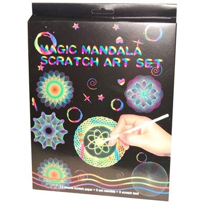 Magic Mandala Scratch Art Set 15 Blad, 23394