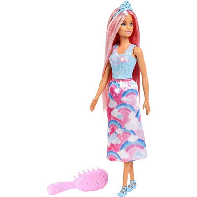 Barbie Dreamtopia Pink Hår med Borste, FXR94