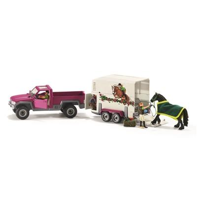 Schleich Horse Club Pick-Up-Bil med Hästtransport, 42346