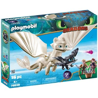 Playmobil DRAGONS Vitfasa med Drakunge och Barn, 70038