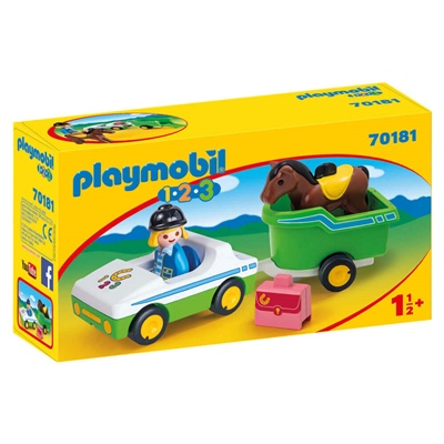 Playmobil 1-2-3 Bil med Hästtransport, 70181P