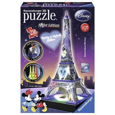Ravensburger 3D Pussel 216 Bitar Night Disney Eiffeltornet, 125203