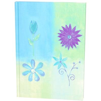 Blå Blommor Linjerad Skrivbok A5, 7391553043433