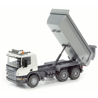 Emek Scania P Tipplastbil Vit 1:25, 10502EM