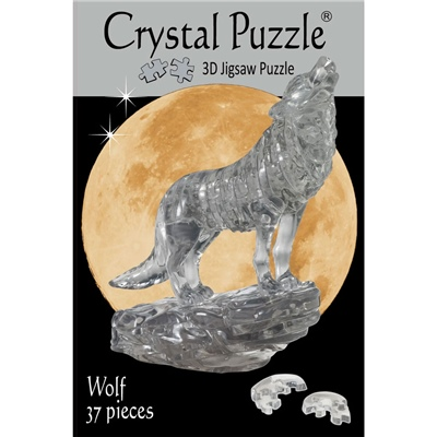 Crystal Puzzle 3D Pussel 37 Bitar Wolf Svart, 28496