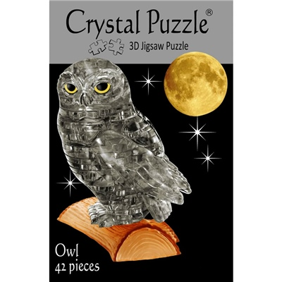Crystal Puzzle 3D Pussel 42 Bitar Grå Uggla, 28183