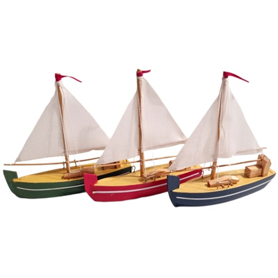 Prydnads Segelbåt i Trä 12 cm 3-Pack, 754001949