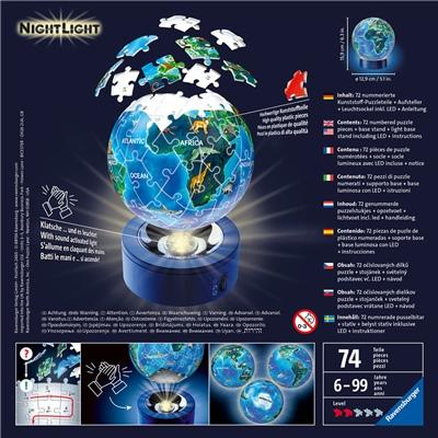Ravensburger 3D Pussel 74 Bitar NightLight Earth by Night, 118441