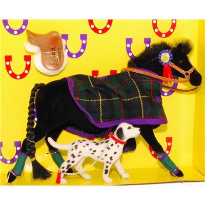 Pony World Travande Häst Svart med filt och Hund, A521