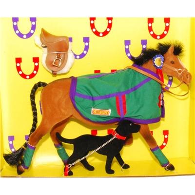 Pony World Travande Häst Brun med filt och Hund, A523