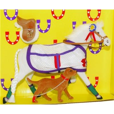 Pony World Travande Häst Vit med Hund, A525