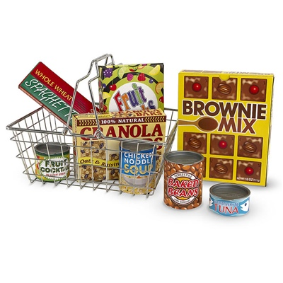 Melissa & Doug Grocery Basket with Play Food, 15171
