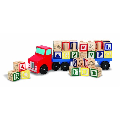Melissa & Doug Alphabet Blocks Wooden Truck, 15175