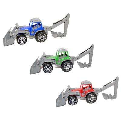 Plasto Traktor med Frontlastare och Grävare, 1614000BOX