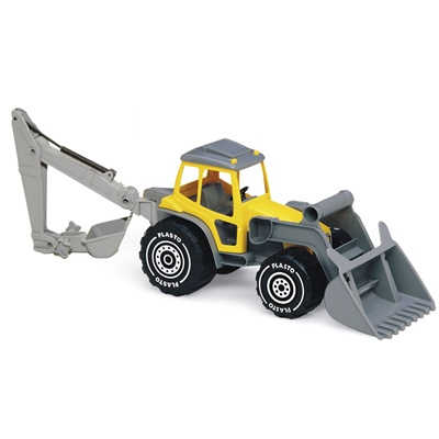 Plasto Traktor med Frontlastare & Grävare Gul, 1614PO