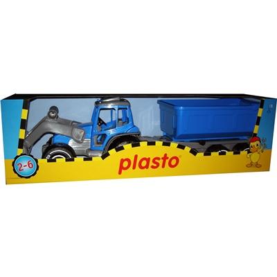Plasto Traktor med Skopa & Släp, 1618PO